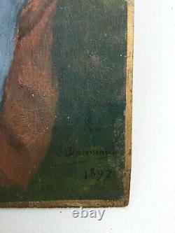 Tableau ancien signé, daté 1897, Huile sur panneau, Femme à la couture, XIXe