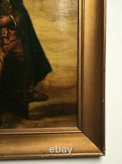 Tableau ancien signé et daté 1862, Huile sur toile, Homme à la cape, XIXe