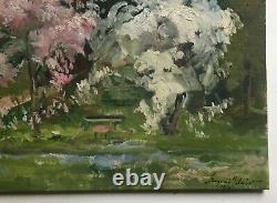 Tableau ancien signé et daté 1970, Huile sur toile, Jardin, Grand format, XXe