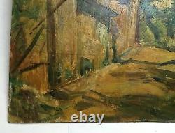 Tableau ancien signé et daté, Huile sur isorel, Paysage, Début XXe