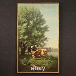 Tableau ancien signé peinture huile sur toile scène bucolique 800 19ème siècle