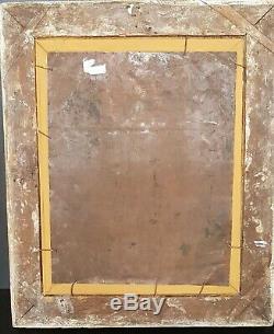 Tableau ancien vierge à l'enfant dans un paysage huile sur cuivre du XVIIIème