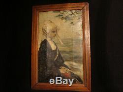 Tableau breton par Pouzols E ou L huile sur toile ancienne