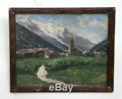 Tableau de Montagne ancien, huile sur toile, Monogramme, Argentières 1904, Cadre