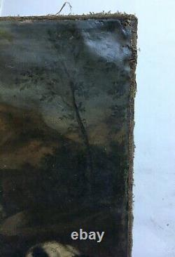 Tableau de chasse ancien, Huile sur toile, Meute de chiens face au loup, XVIIIe