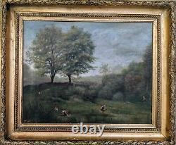 Tableau huile ancien sur toile 19ème Paysage d'été Lavandières cadre bois doré