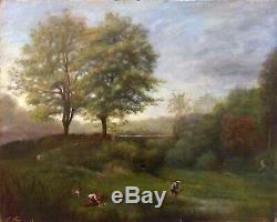 Tableau huile sur toile 19ème Paysage d'été Lavandières tableau ancien