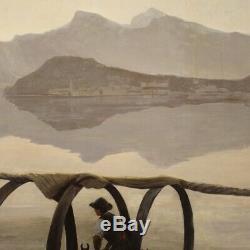 Tableau italien peinture signé huile sur toile paysage lac de Côme style ancien
