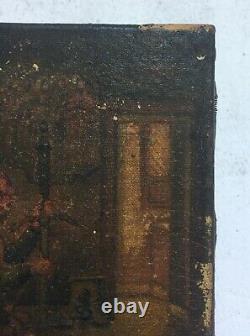 Tableau miniature ancien, Huile sur toile, Soldat dans un intérieur, Fin XIXe