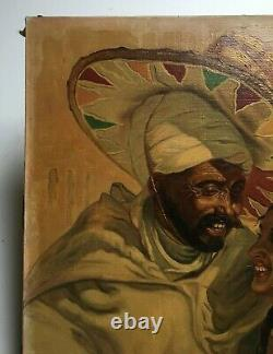 Tableau orientaliste ancien signé, Huile sur toile, Portrait de couple Début XXe