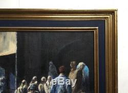 Tableau orientaliste ancien signé Pol, Huile sur isorel, Encadré, XXe