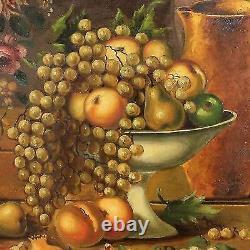 Tableau peinture huile sur toile espagnol nature morte fruit signé style ancien