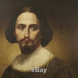 Tableau peinture italien ancien portrait huile sur toile noble homme cadre 800