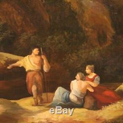 Tableau peinture paysage huile sur toile avec cadre style ancien personnages