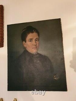 Tableau peinture portrait ancien femme 19e huile sur toile