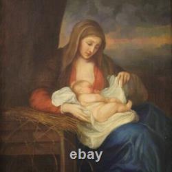 Tableau peinture sur toile avec cadre religieux Vierge avec enfant style ancien