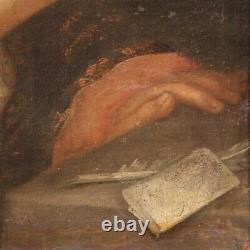 Tableau portrait ancienne peinture huile sur toile français cadre 18ème siècle