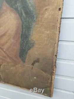 Tableau religieux Ancien, XIX ème s représentant une sainte, huile sur toile
