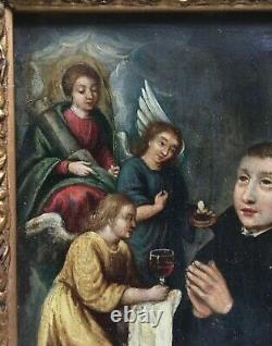 Tableau religieux ancien, Huile sur cuivre, Saint et anges, Encadré, XVIIIe