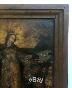 Tableau religieux ancien, Huile sur cuivre, Scène religieuse, XVIIe