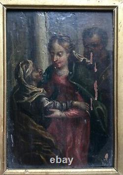 Tableau religieux ancien, Huile sur panneau parqueté, Ecole italienne, XVIIe