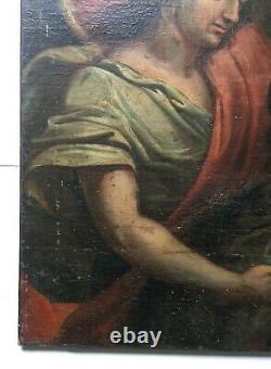Tableau religieux ancien, Huile sur toile, Ecole française XVIIIe