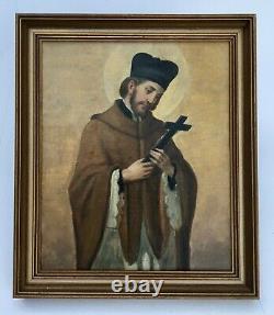 Tableau religieux ancien, Huile sur toile, Ecole orthodoxe, Pope, XIXe