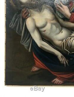 Tableau religieux ancien, Huile sur toile, Vierge et Christ, XVIIe