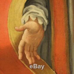 Tableau religieux ancien peinture huile sur toile saint art sacré 1700 xviiième