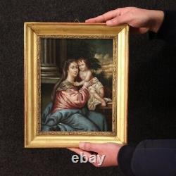 Tableau religieux peinture ancienne Vierge avec enfant huile sur cuivre 800