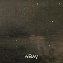 Tableau signé peinture huile sur tablette style ancien paysage marine nocturne