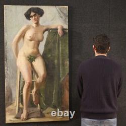 Tableau signé peinture huile sur toile nu féminin style ancien impressioniste