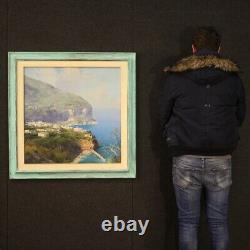 Tableau signé peinture marine paysage huile sur toile cadre style ancien 900