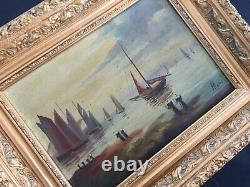 Tableau très ancien huile sur toile signée MARIO marine bateaux