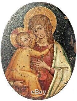 Très ancienne peinture sur cuivre, Mère à l'Enfant d'époque avant XVIII ème
