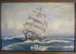 Très intéressante et Ancienne Marine / Huile sur Toile marouflée