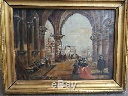 Venise, ancien tableau huile sur toile fin XIX ème s