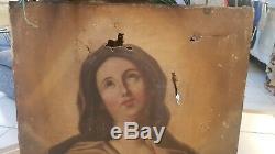 XIX ème s, Tableau ancien huile sur toile Sainte à restaurer