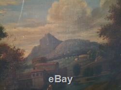 XIX ème s, Tableau ancien huile sur toile paysage