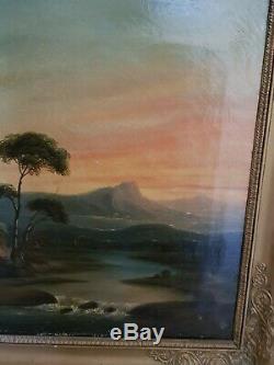 XIX ème s, ancien tableau huile sur toile paysage, cadre doré empire