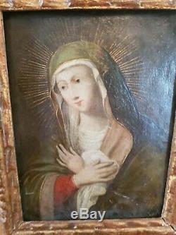 XVIII éme S, La Vierge Marie, Huile sur Cuivre, ancien cadre bois doré