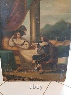 XVIII ème s, ancienne peinture scène gallante, huile sur toile grand format